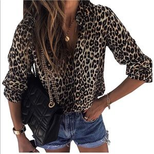 Tops - Leopard Print Button Down Top silky feel. Animal S